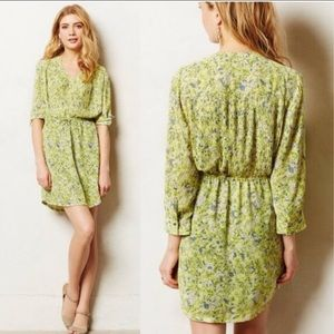 Anthro Maeve Neon Yellow Floral Galen Dress Sz L